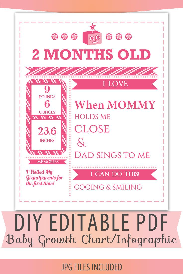 Diy Editable Pdf Monthly Growth Chart Baby Girl Pink Birth Stats