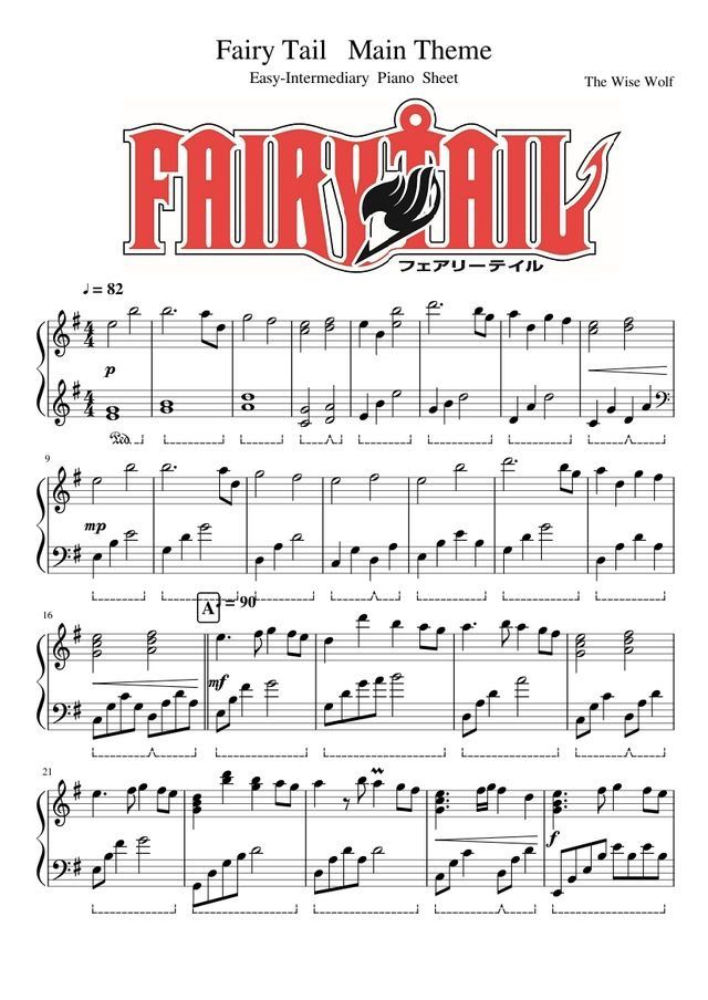 All Music Chords anime sheet music : Pin by NINA SOTO on FAIRY TAIL | Pinterest