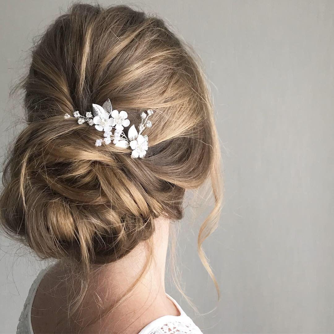 Crystal Bridal hair pins Wedding flower hair piece with | Etsy