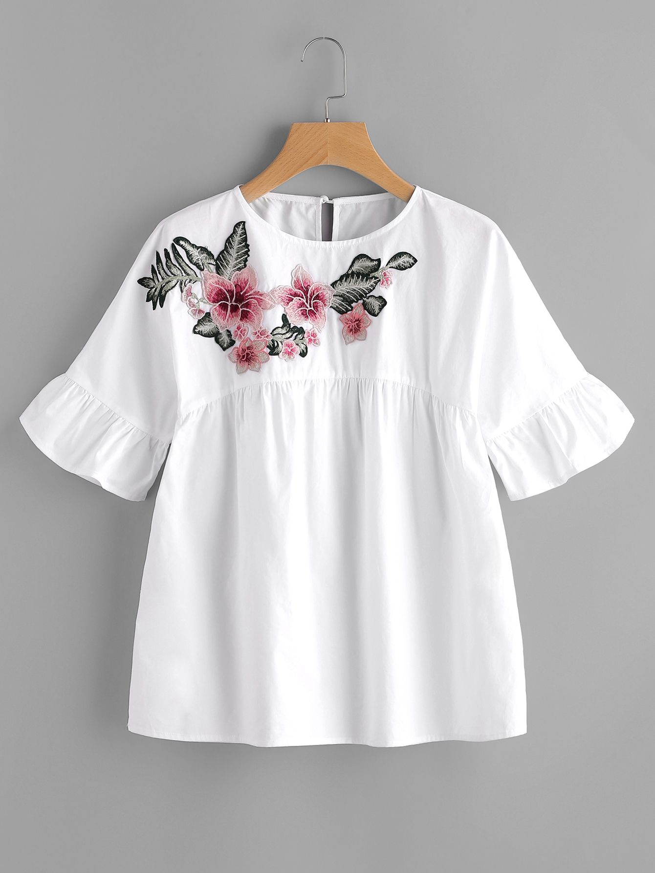 Embroidered Flower Embellished Ruffle Sleeve Babydoll Top ...