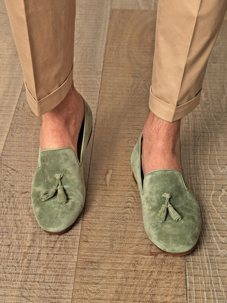 4ba6a00f6bc Sage-green suede loafers with a tassel detail
