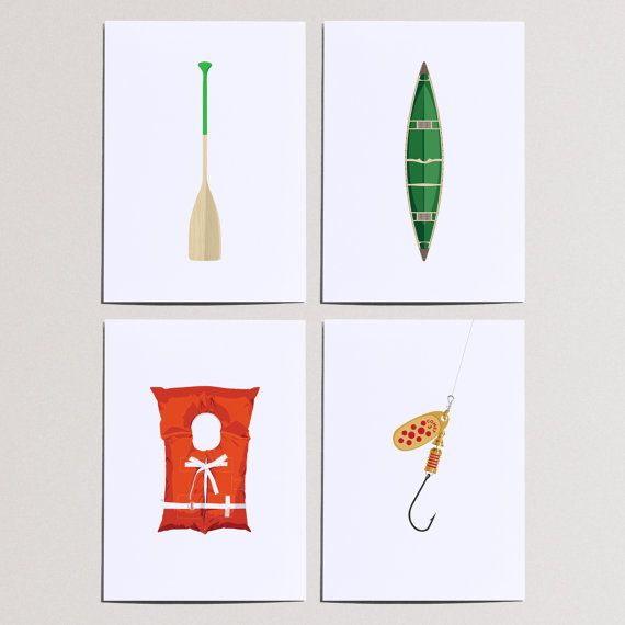 Gamitagama, Set of Four 5x7 Prints, Illustration, Green and Orange, Wall Art, Cottage, American, River Fishing