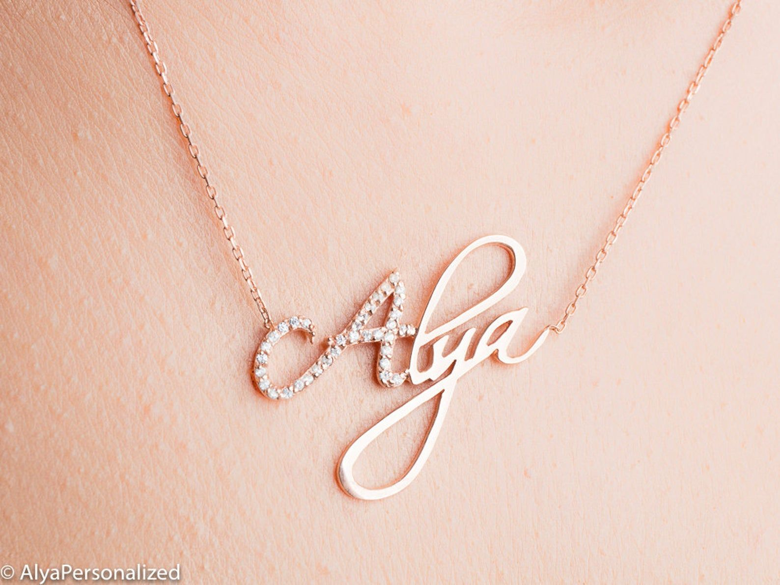Silver Rose Gold Name Necklace Custom Gift Personalize Pendant Custom Name Necklace Personalize Pendant Your Words Children/'s Names Custom
