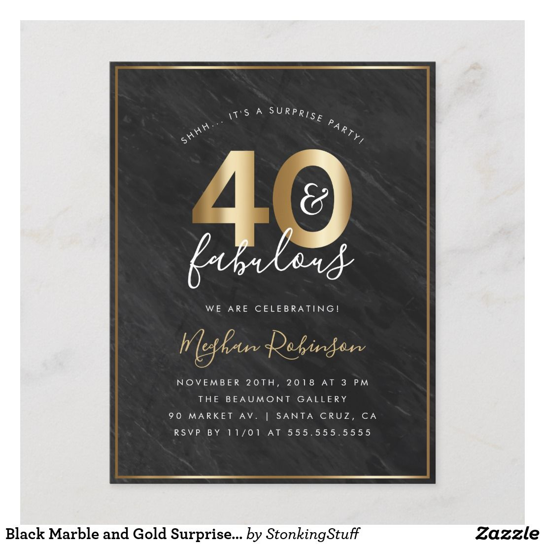 Black Marble And Gold Surprise 40th Birthday Party Invitation Postcard Create Your Own Glamorous