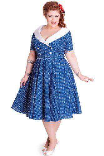 Fashion Bug Plus Size 50s Vintage Navy Blue Polka Dot Hepburn Wide V
