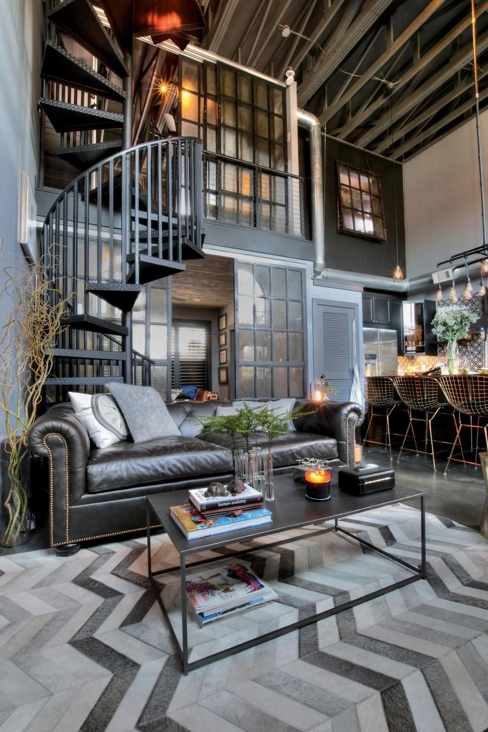 a spacesaving spiral staircase  industrial style living