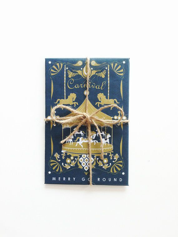Merry Go Round  Carnival  Royal Color - Holiday Cards - Greeting Card Set - Christmas - Anniversary - Graduation - Valentine's Day by dekanimal, $13.00