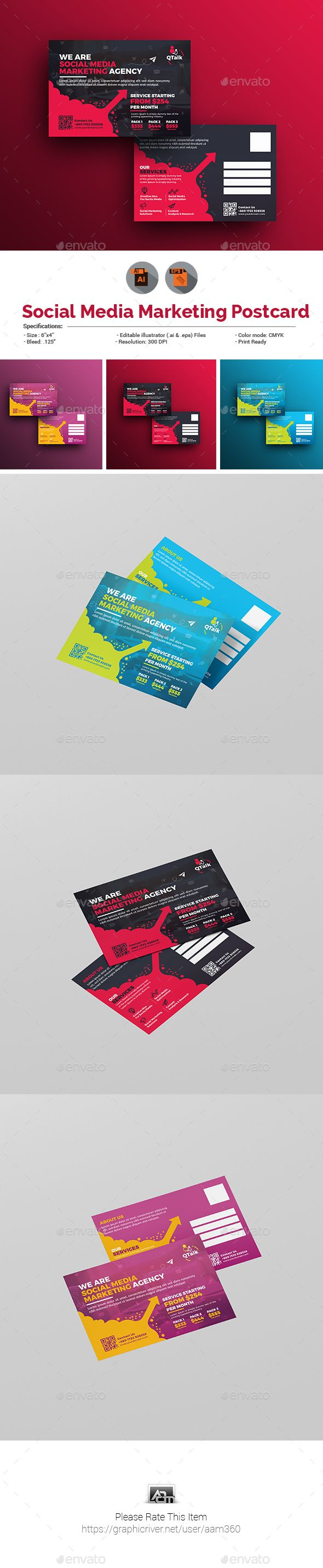 Social Media Marketing Postcard | Print templates, Postcard template ...
