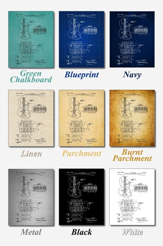 Fender Guitar Pickups Art Print,  Patent, Fender Guitar Pickups Vintage Art,  Blueprint,  Poster, Pa #fenderguitars