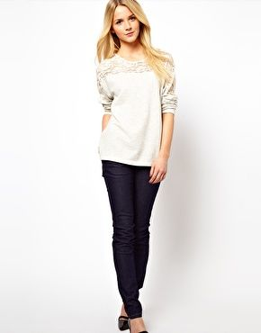 ASOS Sweatshirt with Lace Insert