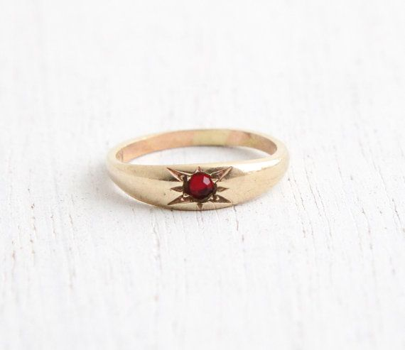 Vintage Art Deco 10k Ruby Red Stone Yellow Gold Ring Size 3 4