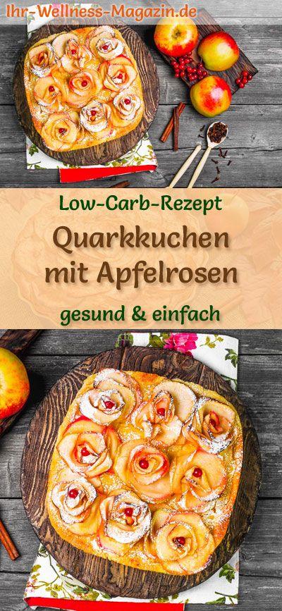 Low-Carb-Quarkkuchen mit Apfelrosen - Rezept ohne Zucker