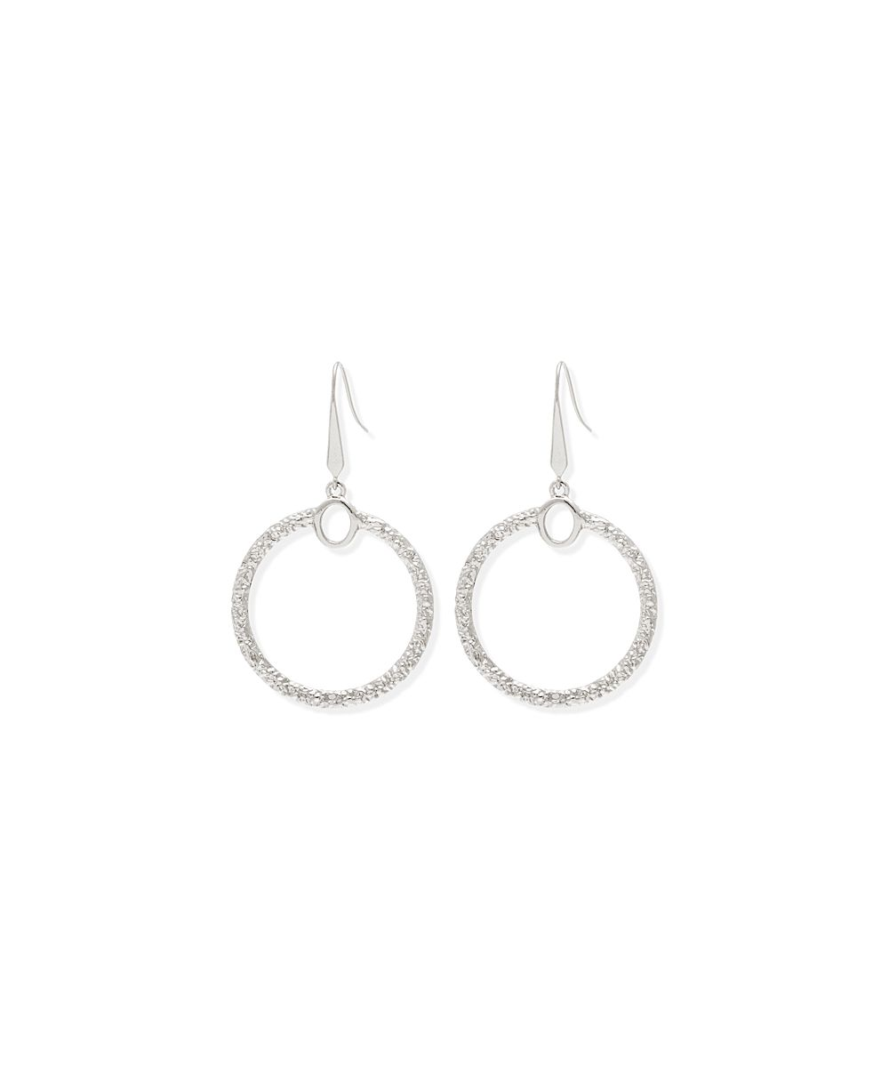 Silvertone Textured Circle Drop Earrings