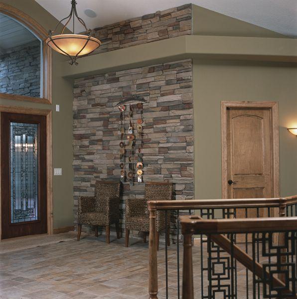 Wall Color Light Wood Trim : Like the stone, paint color and light fixture, hmmm oak trim even! Home Decor Pinterest ...