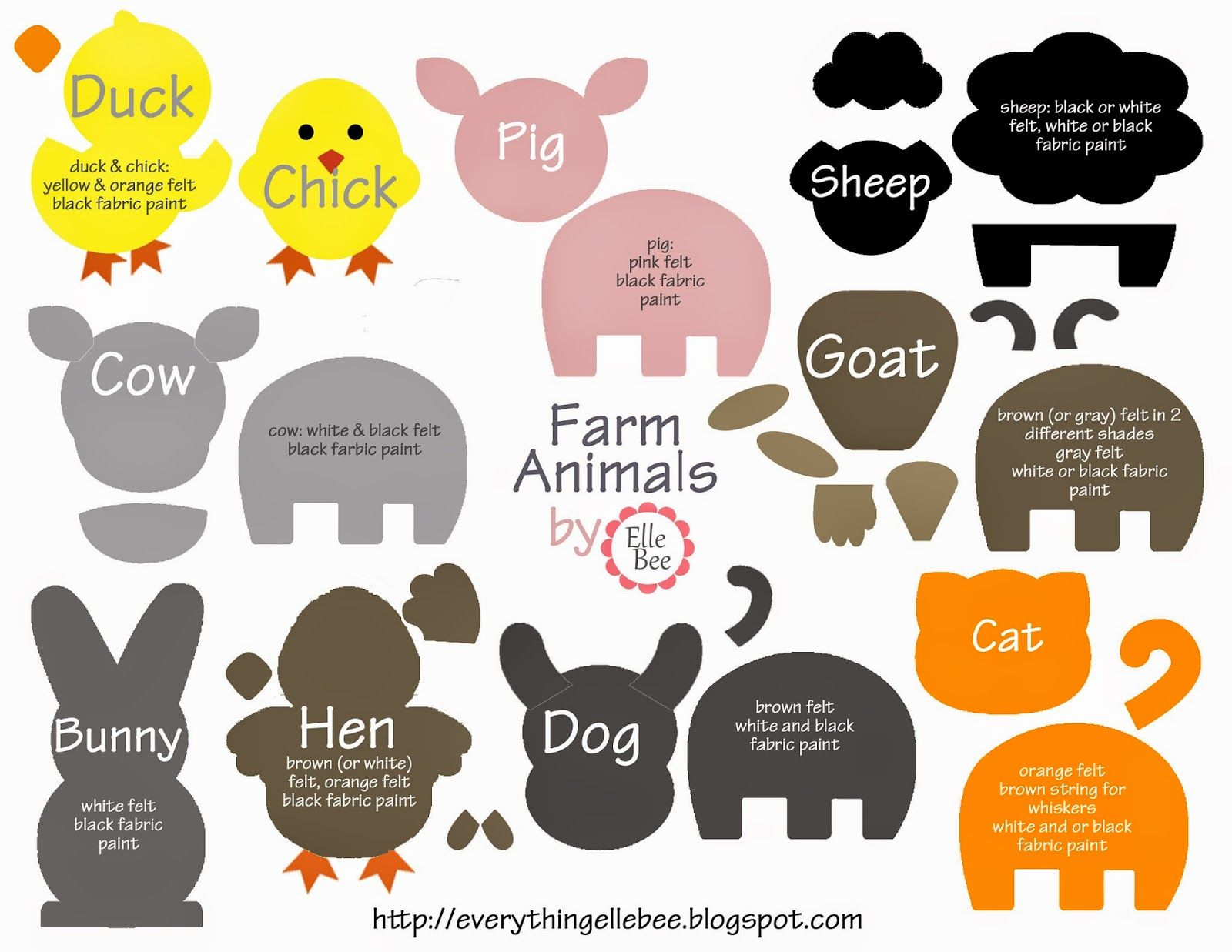 Free Printable Farm Animal Template For Felt Board