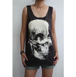 Skull Punk Goth Hard Rock Men T-shirt Tank Top Vest Tee