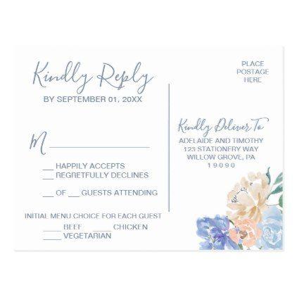 Dusty Blue Florals Menu Choice RSVP Postcard Rsvp, Florals and - wedding response postcards