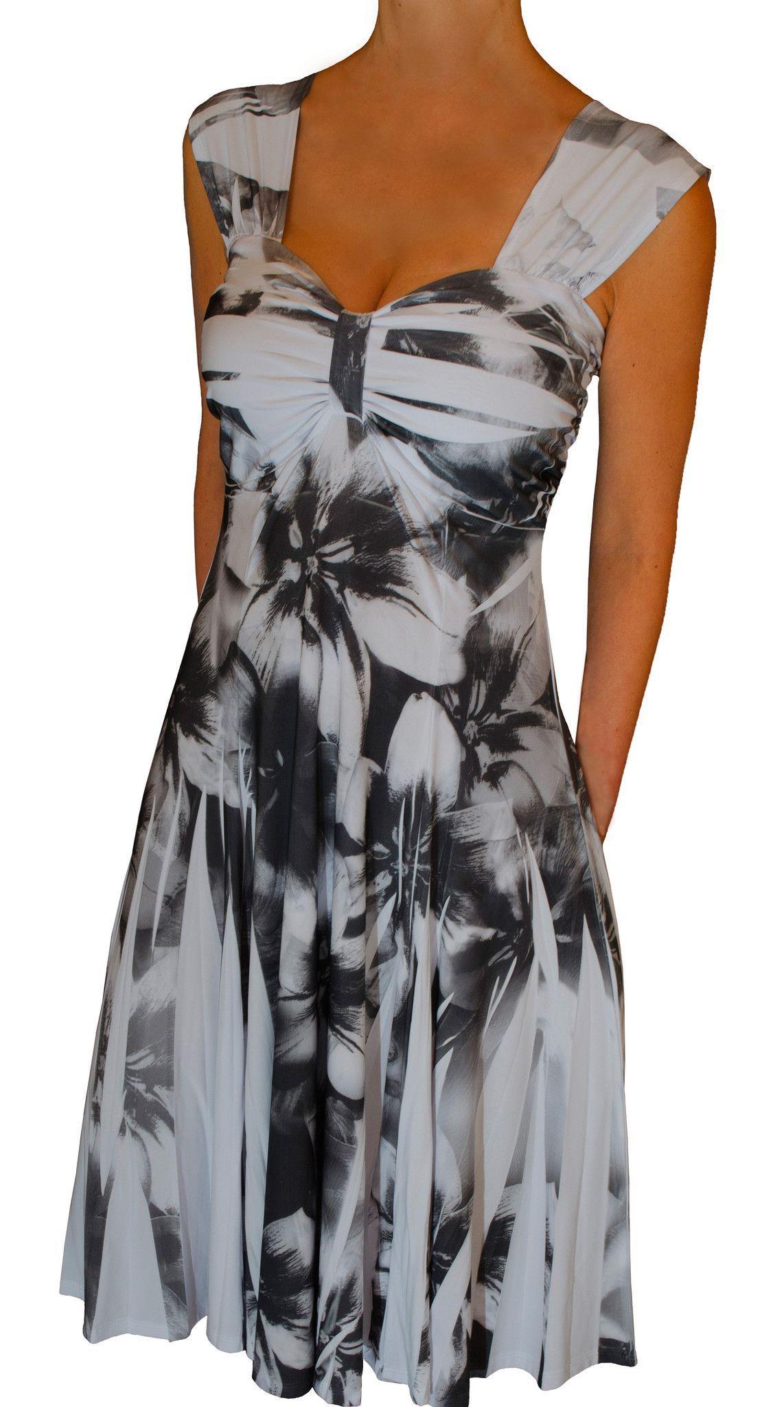 f8042e72d0 Funfash Plus Size Dress Black White Empire Waist Slimming Cocktail ...