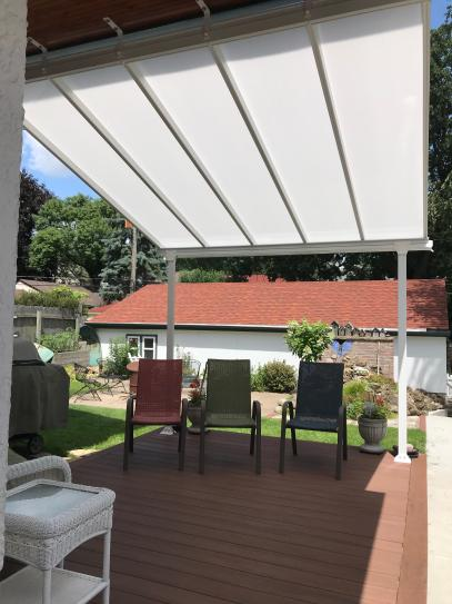 Palram Feria 10 Ft X 10 Ft White Patio Cover Awning 702720 The Home Depot In 2020 Covered Patio Outdoor Shade Patio