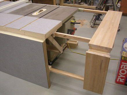 Folding Sliding Table Saw Extension Wing Garage Diy