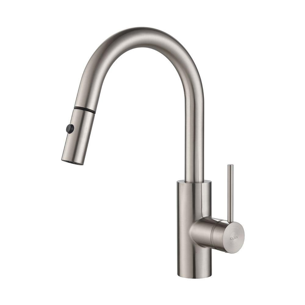 KRAUS Oletto Single-Handle Pull-Down Kitchen Faucet with Dual ...