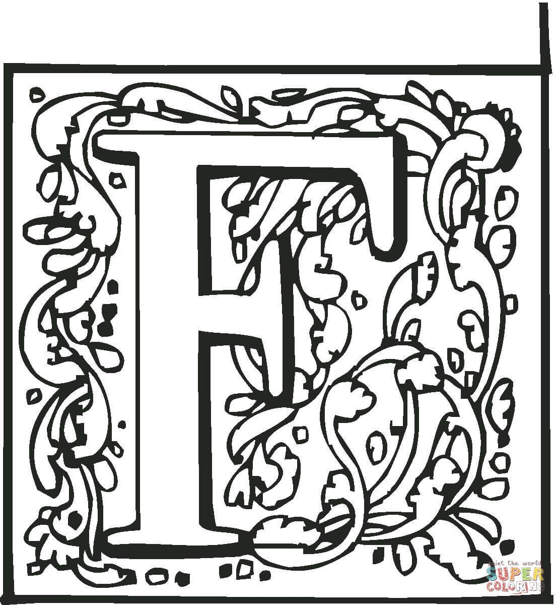 Letter F with Ornament coloring page from English Alphabet with ...
