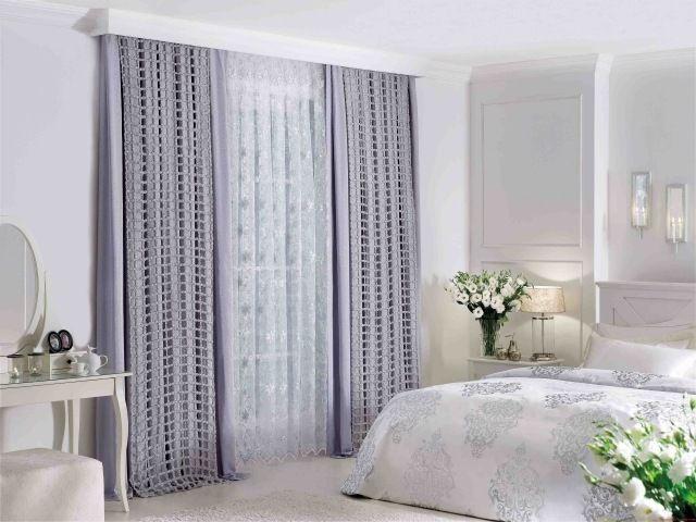ideen schlafzimmer gardinen vorhänge kombination fliederfarbe ...