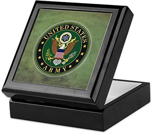 CafePress Army Seal Green Grunge Keepsake Box Finished Hardwood