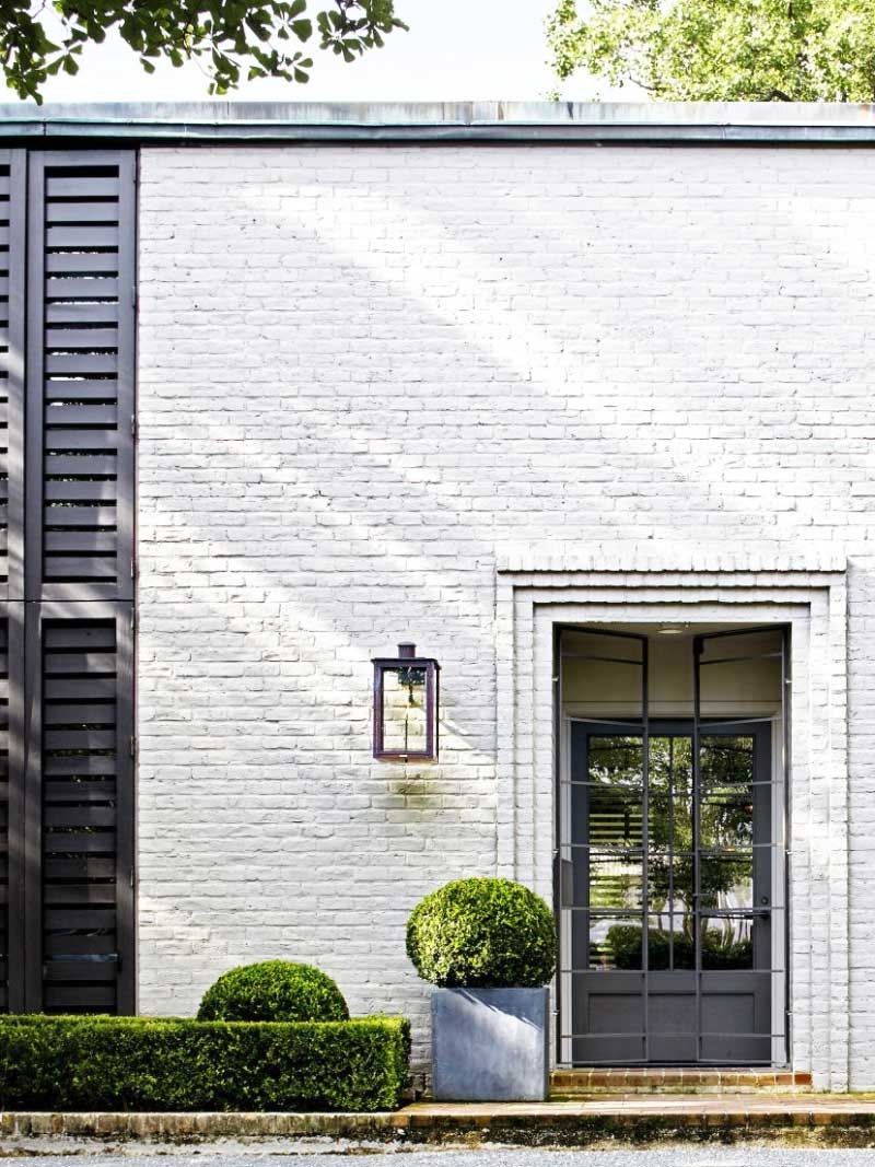 White Farmhouse Exterior Black Shutters
