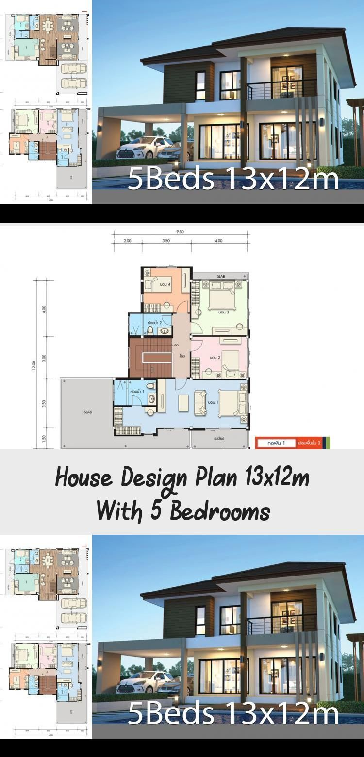 House Design Plan 13x12m With 5 Bedrooms Home Design With Plansearch Modernhousesfachadasdecasasmoderna In 2020 Home Design Plans House Design Modern Tropical House