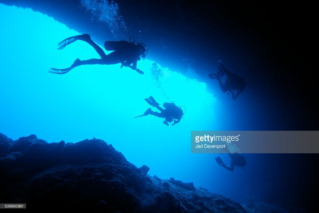 Foto de stock : Divers explore the Ocean Blue Hole, an underwater cave system.