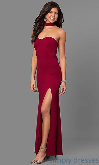 fcab0ff376809 Merlot Red Long Prom Dress with Choker Collar in 2019 | Gowns | Prom ...