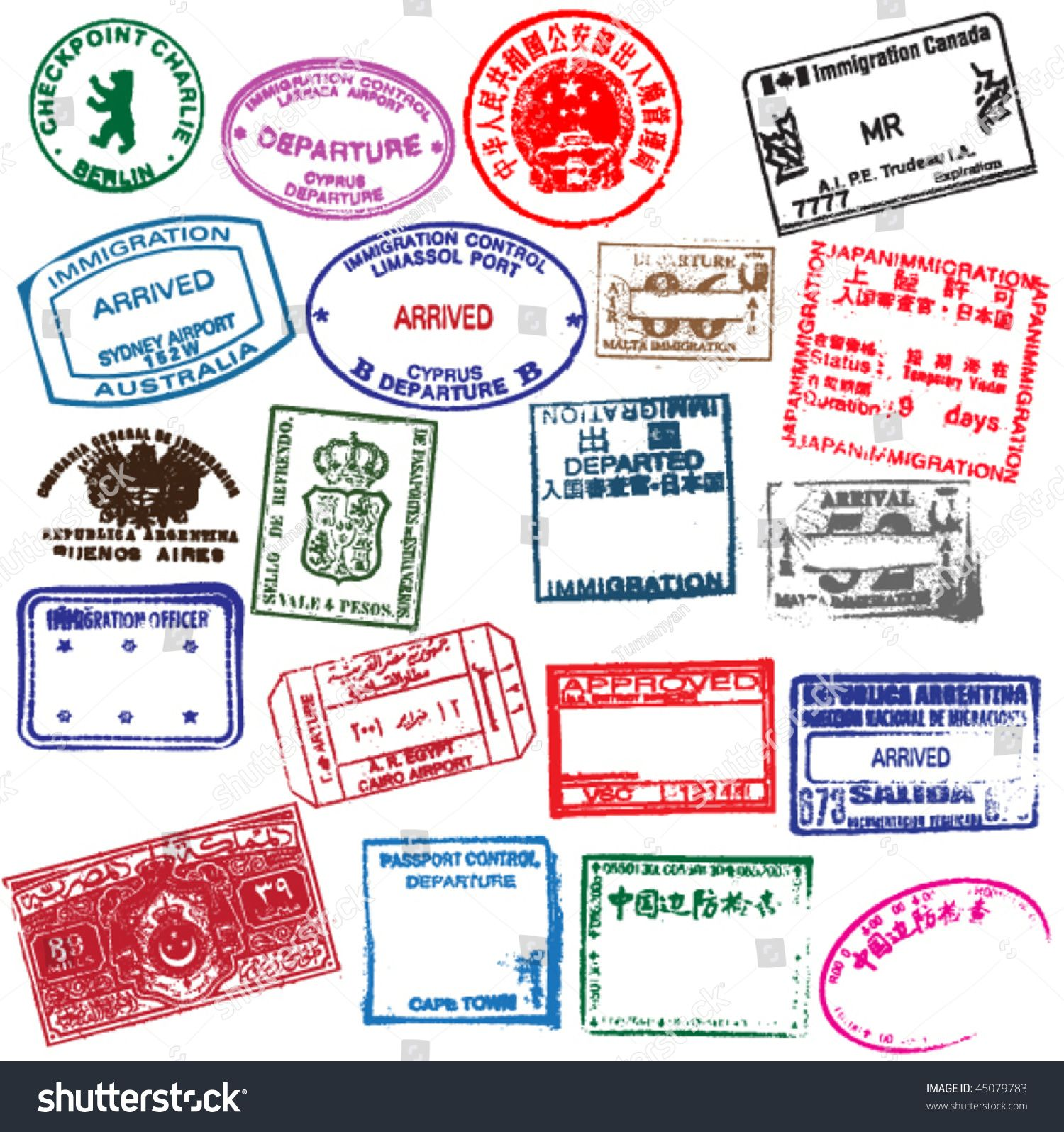 various visa stamps from passports from worldwide