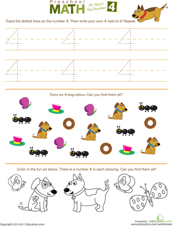 preschool math all about the number 4 worksheets maths and activities. Black Bedroom Furniture Sets. Home Design Ideas