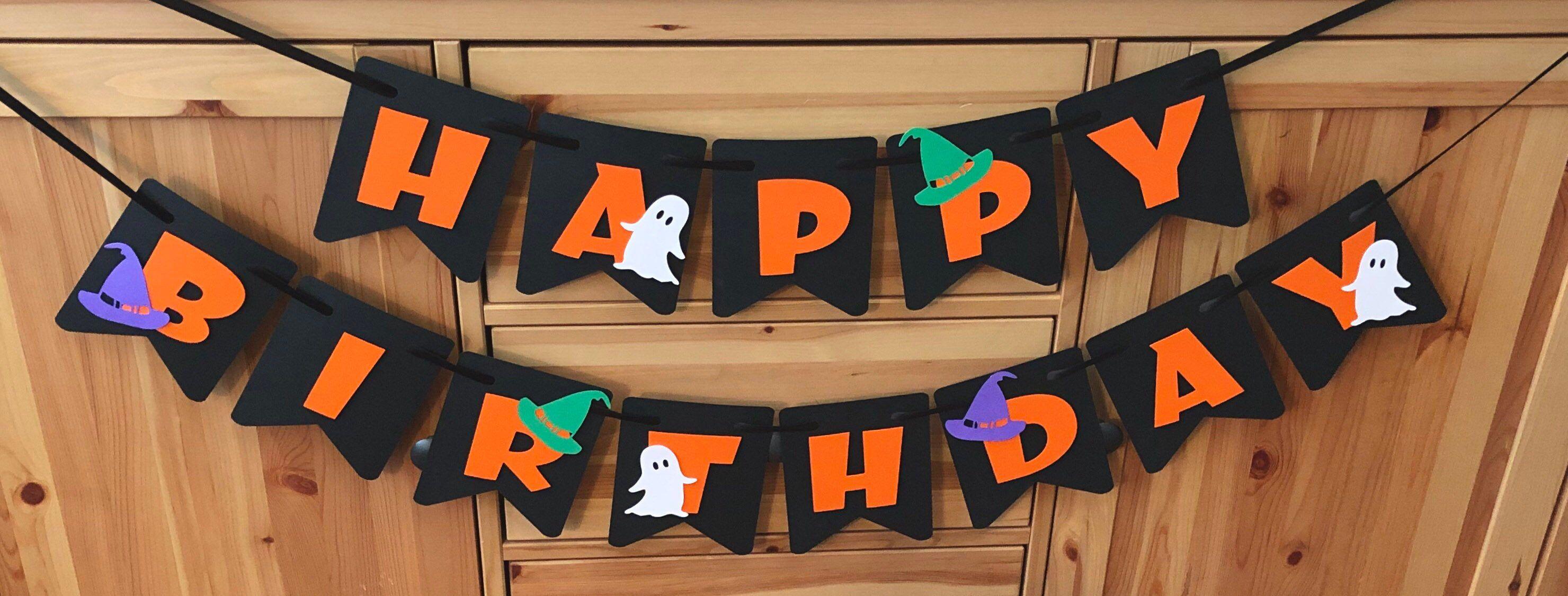 Halloween Banner, Halloween Birthday Banner, Happy