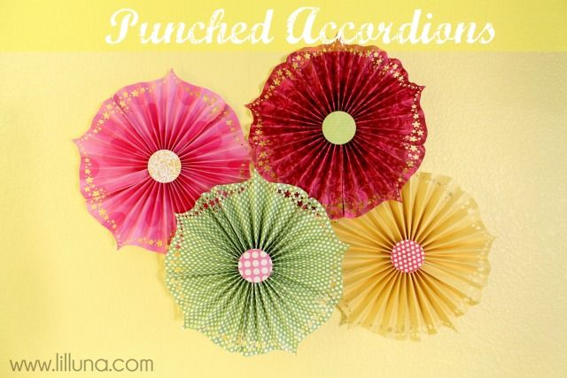 Punched Accordions - so easy, cute and perfect for decor for any party or holiday! #paper #accordion
