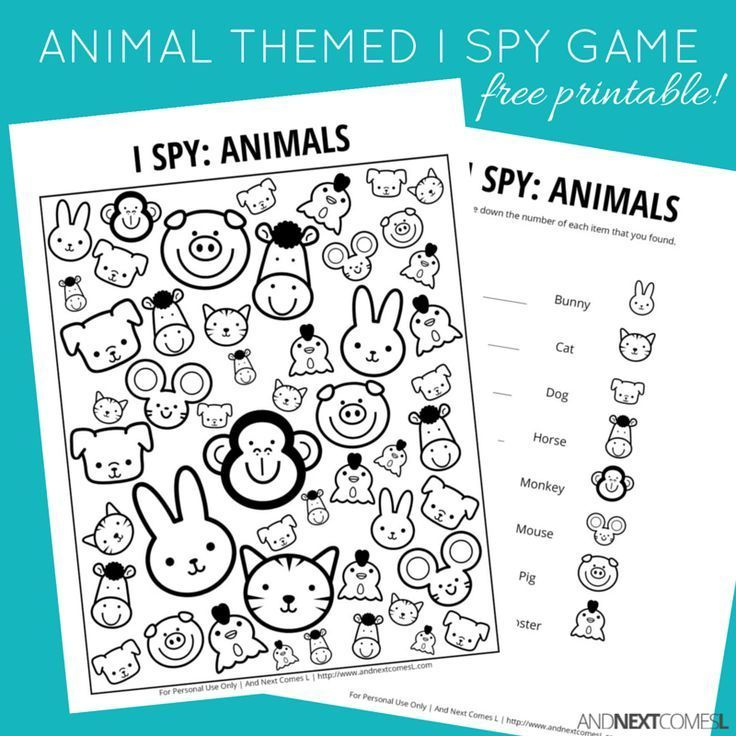 animal themed i spy game free printable for kids