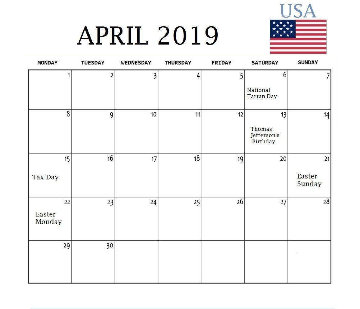 April 2019 Usa Holidays Calendar April April2019
