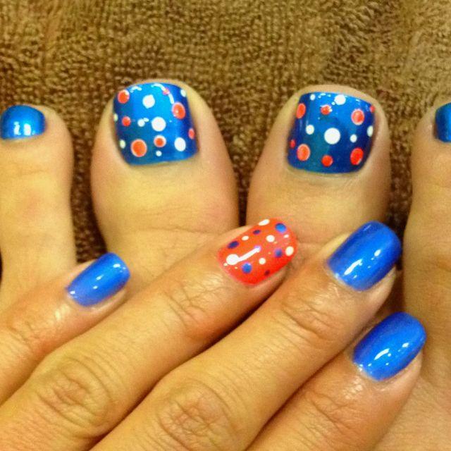 Laura Toe Nail Polka Dot Orange And Blue Dots Nails Nails Toe Nails