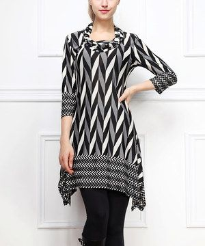 Another great find on #zulily! Black Zigzag Sidetail Dress by Reborn Collection #zulilyfinds