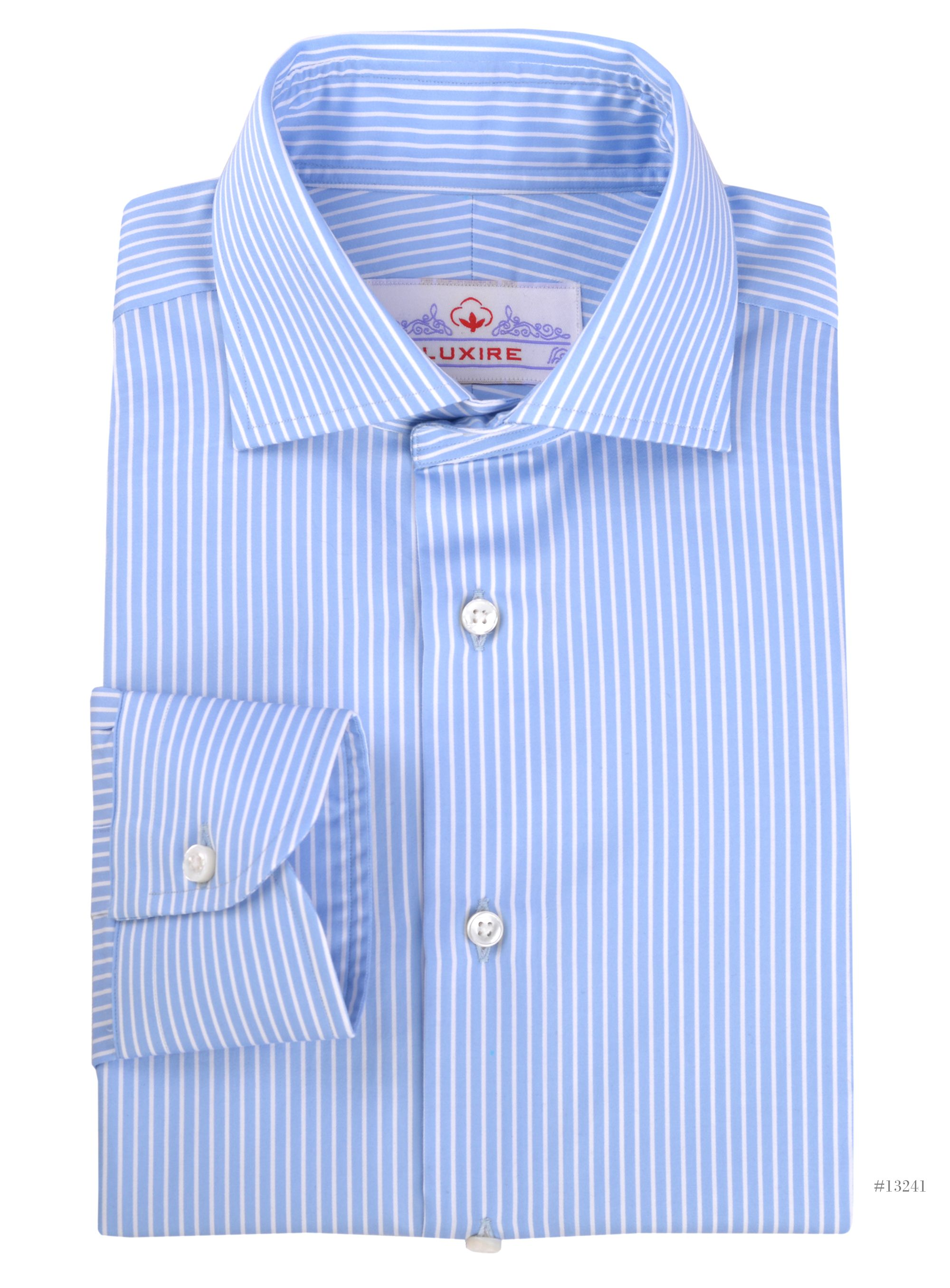 a6225aa0b7 Luxire dress shirt constructed in White Pencil Stripes on Light Blue:  http://
