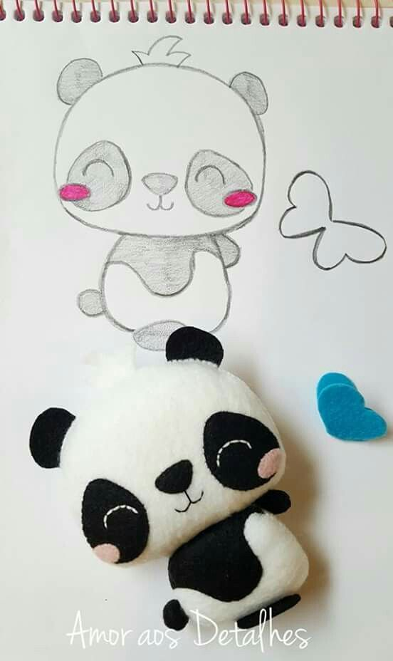 Panda feltro | CREAR CON FIELTRO | Pinterest | Pandas, Feltro y Fieltro
