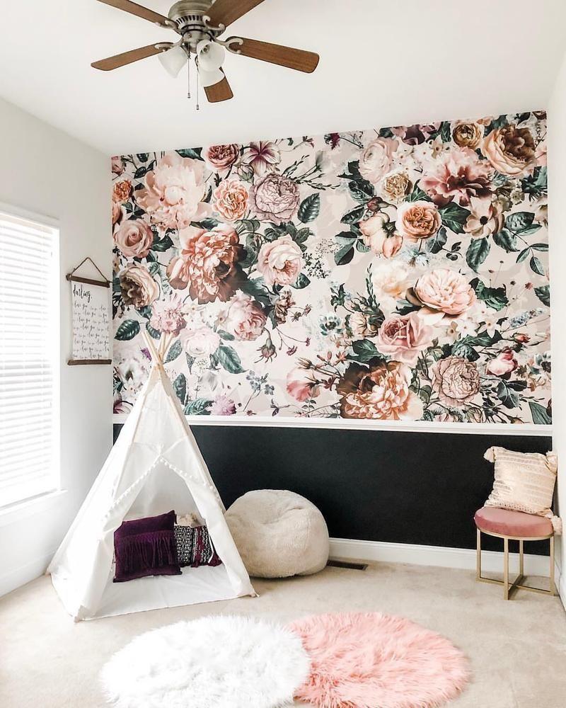 Komar Victoria Floral Wall Mural D Marie Interiors Floral Bedroom Floral Wallpaper Bedroom Wallpaper Bedroom