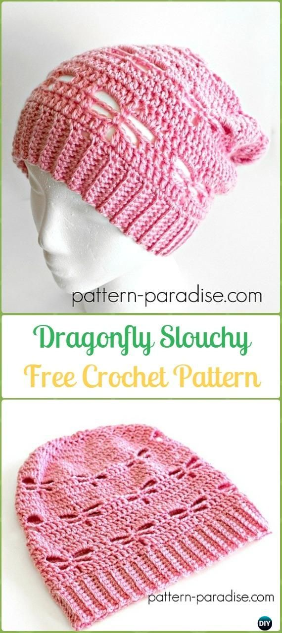 Crochet Dragonfly Slouchy Free Patterns -Crochet Slouchy Beanie Hat ...
