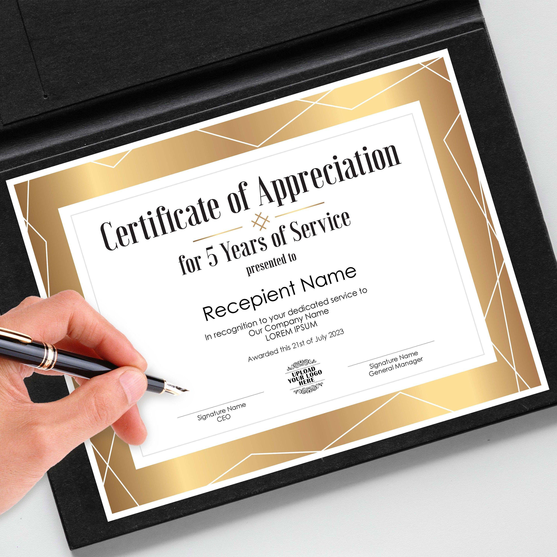 certificate award appreciation employee template editable printable recognition awards certificates templates corporate instant elegant edit