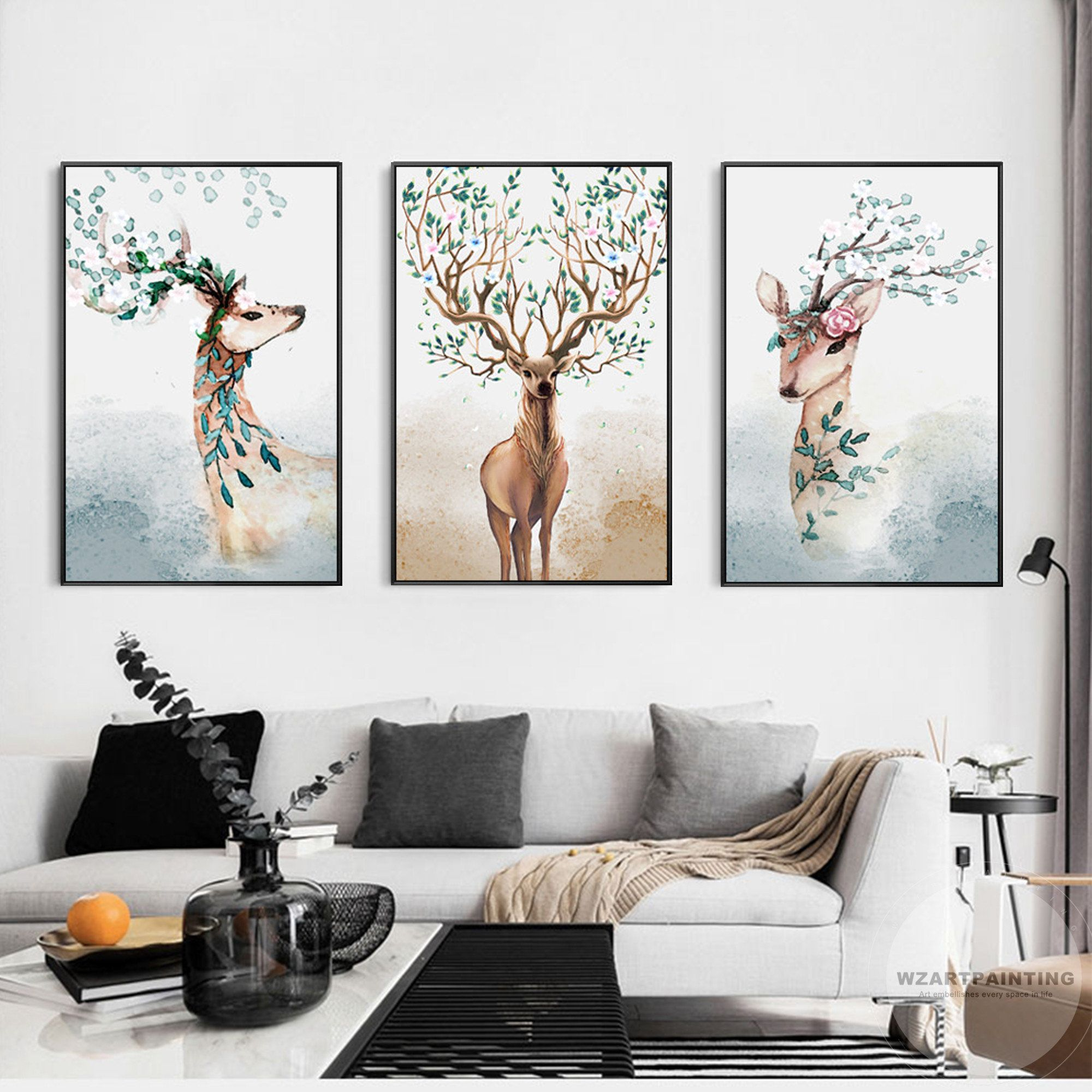 Framed Wall Art 3 Pieces Deer Animal Green Leaf Print Painting Etsy In 2020 Diy Canvas Wall Art Framed Wall Art Abstract Art Wallpaper