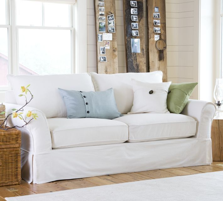 Images Of Slip Covered Sofas | PB Comfort Slipcovered Sofa}