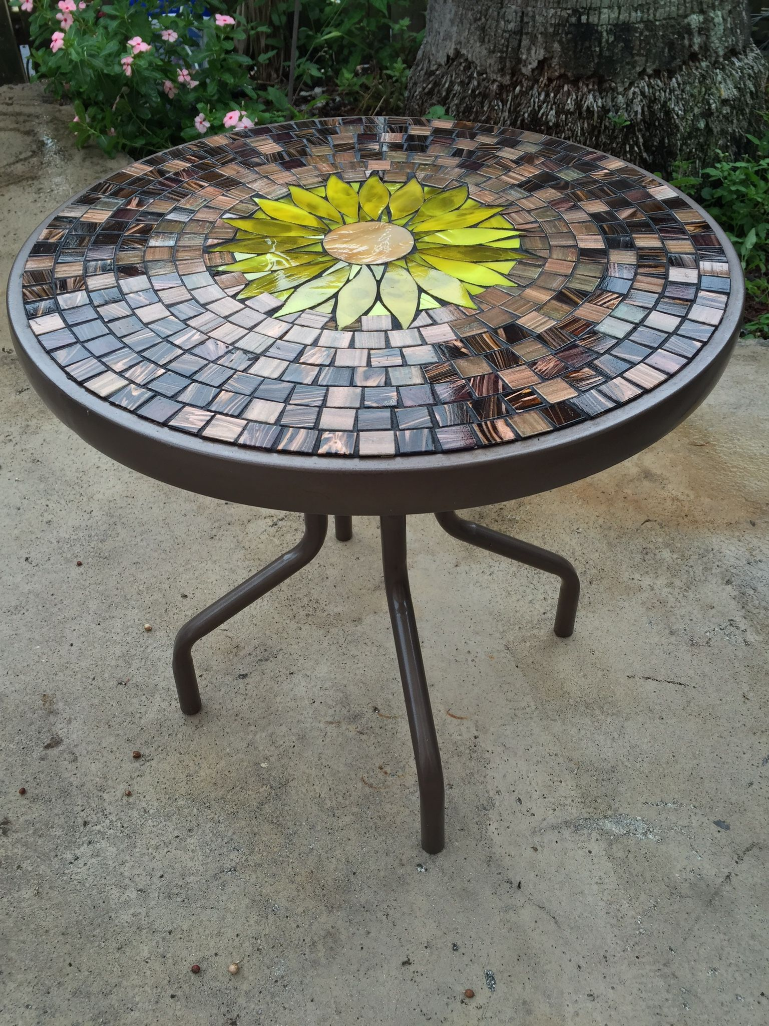 Sunflower Glass Top Table Glass Table Outdoor Tables