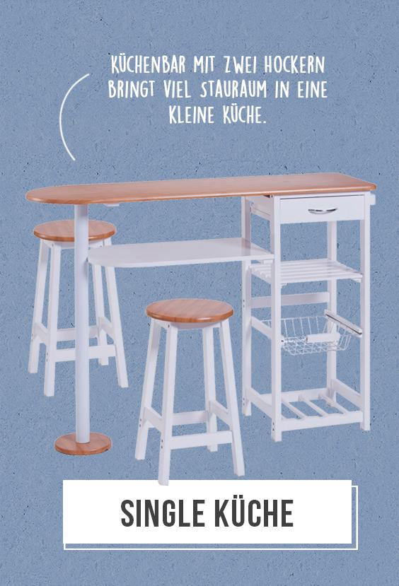 Single Küche - Die Küchenbar mit zwei Hockern bringt viel ...