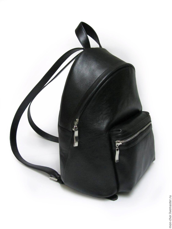 8686d32cde9d Купить Рюкзак женский кожаный - однотонный, черный, черная кожа, рюкзак  женский, рюкзак кожаный
